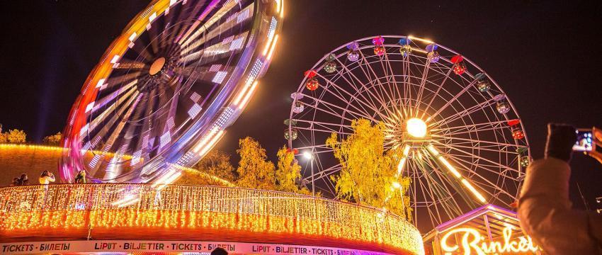 Карнавал света в парке развлечений Линнанмяки