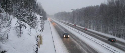 Финская дорога зимой